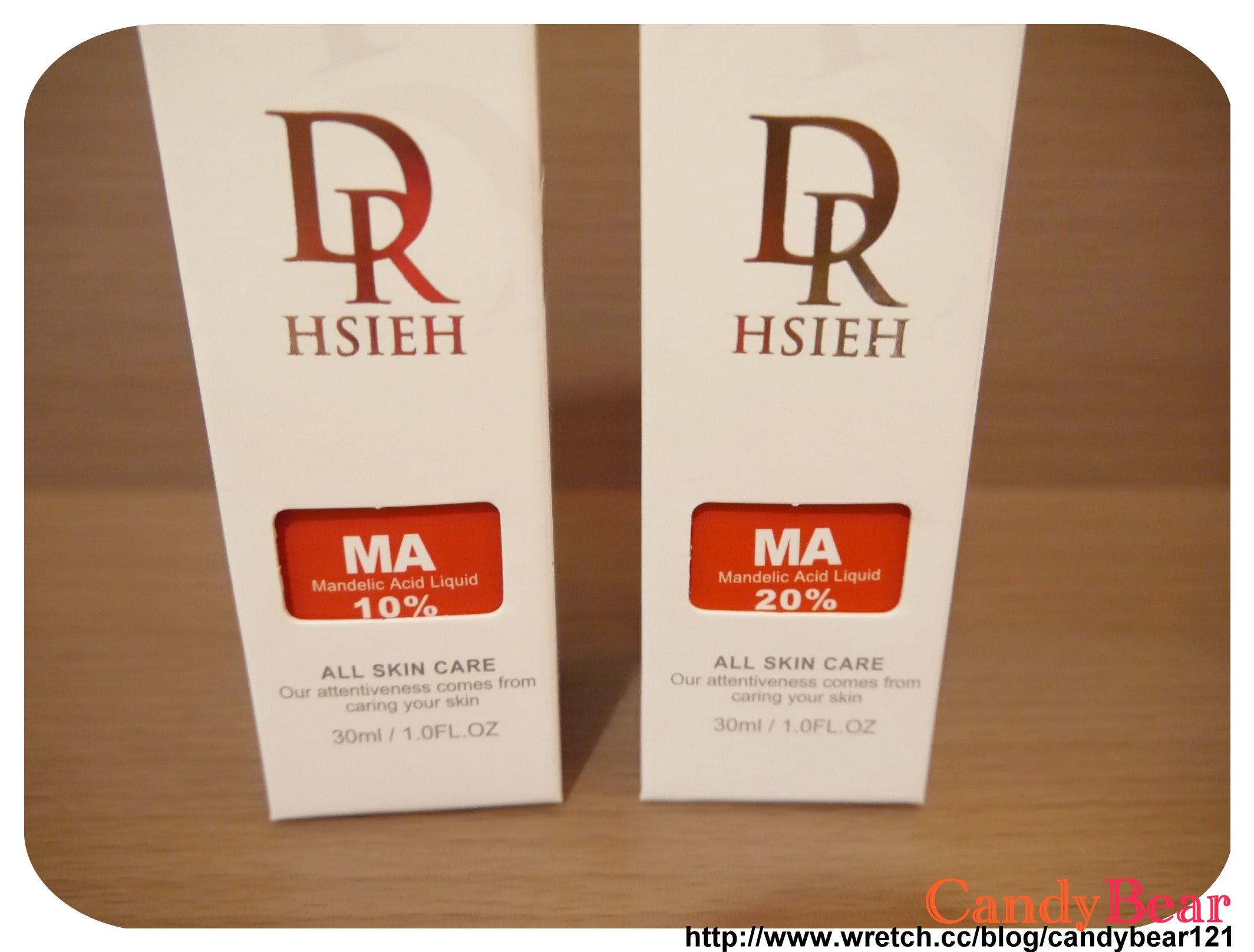 Dr.Hsieh-杏仁酸深層煥膚精華原液_外包裝紙盒說明