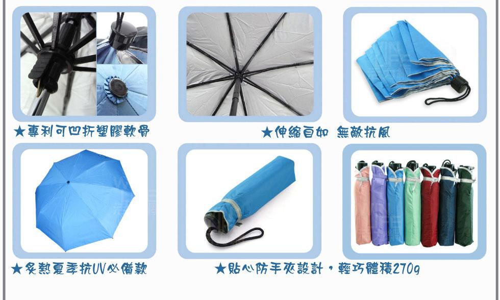 專利可凹折塑膠軟骨,伸縮自如無敵抗風,炙熱夏季抗UV必備款,貼心防夾手設計,輕巧體積