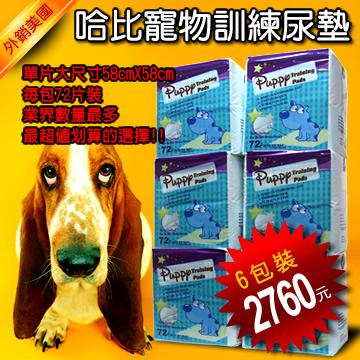 哈比狗狗訓練尿布墊(58cm*58 x72片 x 6)