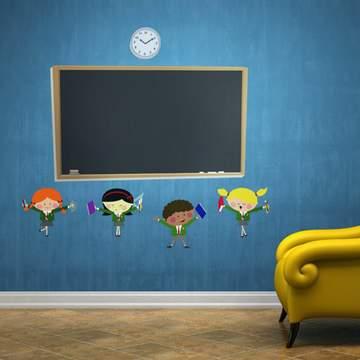 《DALI》創意無痕壁貼◆黑板小學生