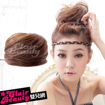 【MT002】耐熱纖維-丸子包頭立體抽繩髮包-直髮款