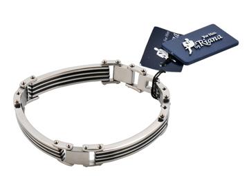 男性飾品-豪氣十足不鏽鋼3段直條紋男士手環