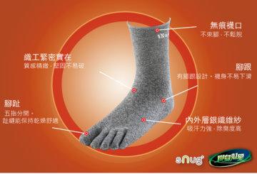 sNug 腳臭剋星頂級銀纖維五趾襪 3雙優惠組