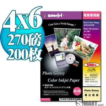 日本進口 color Jet 優質RC超光澤相片紙 4X6 270磅 200張