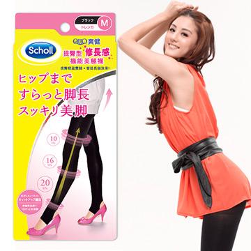 Scholl爽健-Qtto提臀型修長感機能美腿襪(黑色踩腳)
