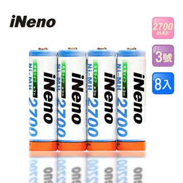 日本技研iNeno艾耐諾3號高容量鎳氫充電電池8入
