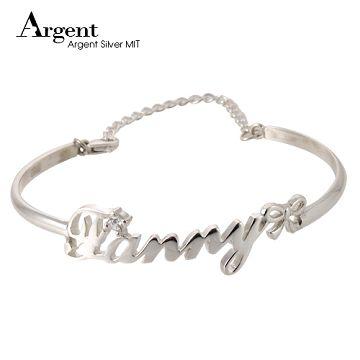 《ARGENT銀飾》『英文名字+圓鑽+小蝴蝶結』純銀姓名手環