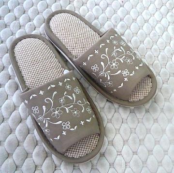 (e鞋院)【柔情隨花】亞麻柔軟室內拖鞋 ~NEW~