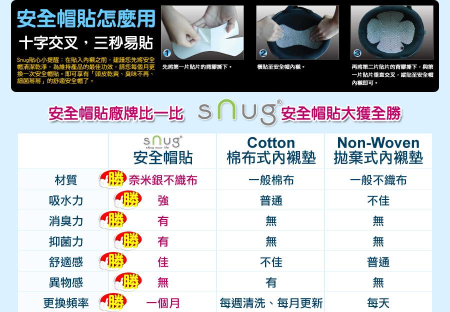 sNug安全帽貼怎麼用:十字交叉,三秒易貼