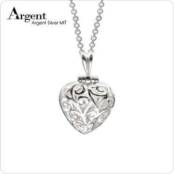 【ARGENT銀飾】愛心系列「心鑽(白鑽)」純銀項鍊