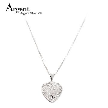 【ARGENT銀飾】愛心系列「心鑽(粉紅鑽)(白K金)」純銀項鍊