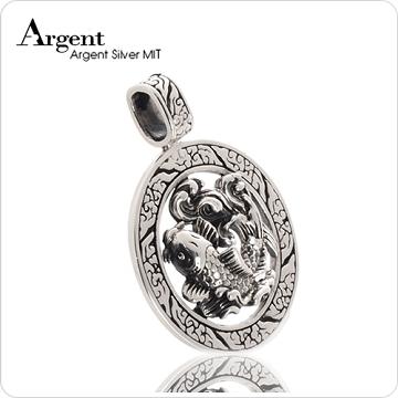《ARGENT銀飾》動物造型潮流系列「魚躍龍門」純銀項鍊(染黑款)