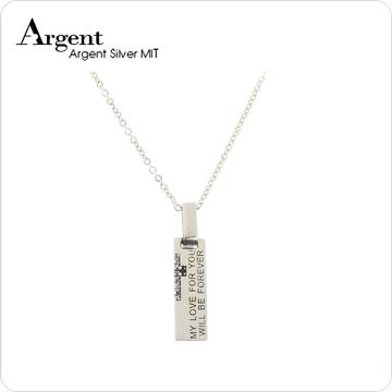 ARGENT銀飾 情人對墜系列-男墜 天生伴侶 染黑款 純銀項鍊(男.寶藍鑽)