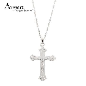 ARGENT 十字架系列 耶穌十字 純銀項鍊 (電鍍白K金)