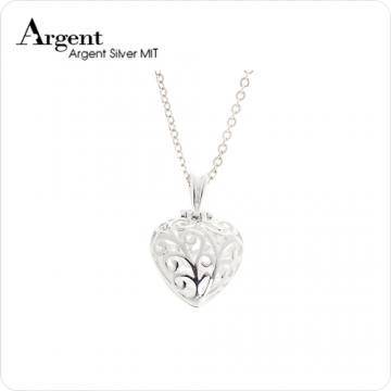 【ARGENT銀飾】愛心系列「心鑽(粉紅鑽)」純銀項鍊