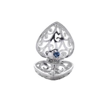 【ARGENT銀飾】愛心系列「心鑽(淺藍鑽)」純銀項鍊