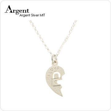 【ARGENT銀飾】愛心系列-女墜「愛戀情鎖(女.鎖頭)」純銀項鍊(無染黑款)