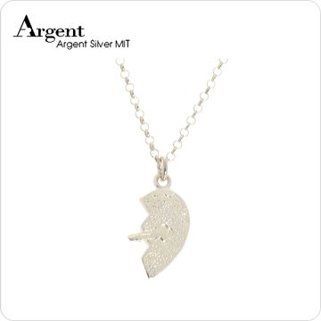【ARGENT銀飾】愛心系列「愛戀情鎖(男.鑰匙)」純銀項鍊(無染黑款)