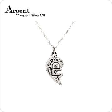 【ARGENT銀飾】愛心系列-女墜「愛戀情鎖(女.鎖頭)」純銀項鍊(染黑款)