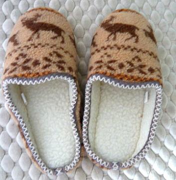 (e鞋院) [踏雪尋梅馴鹿]麂皮毛織室內拖鞋