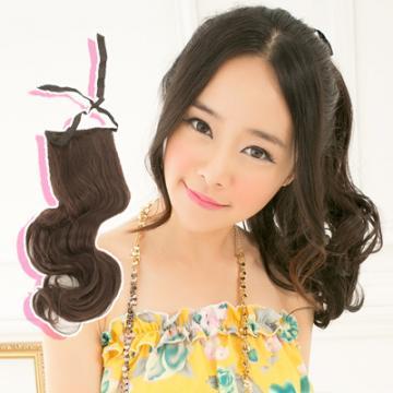 【7956A】耐熱纖維-馬尾式長捲髮