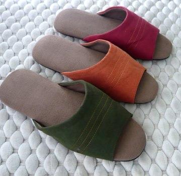 (e鞋院)[經典橫紋]麂皮舒適室內拖鞋