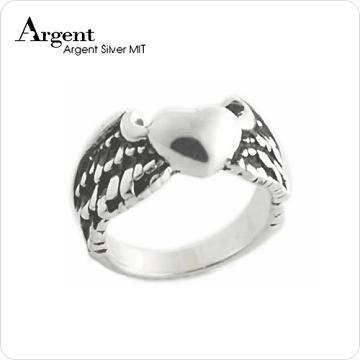 【ARGENT銀飾】造型系列「愛心羽翼」純銀戒指(染黑款)