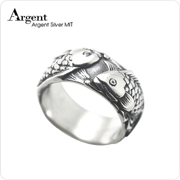 【ARGENT銀飾】動物系列「雙魚情深」純銀戒指(染黑款)
