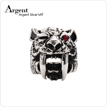 【ARGENT銀飾】動物系列「 劍齒虎」純銀戒指(染黑款)