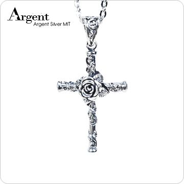 【ARGENT安爵銀飾精品】十字架系列「玫瑰十字架(白鑽)」純銀項鍊(染黑款)