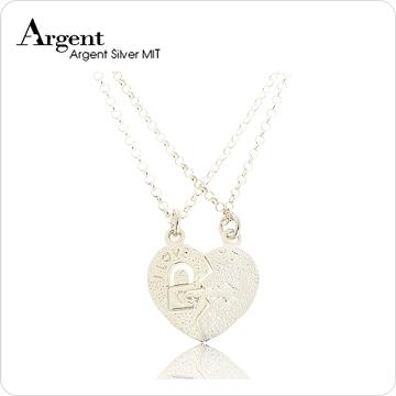 【ARGENT銀飾】情人對墜系列「愛戀情鎖」純銀項鍊(無染黑款)(一對價)