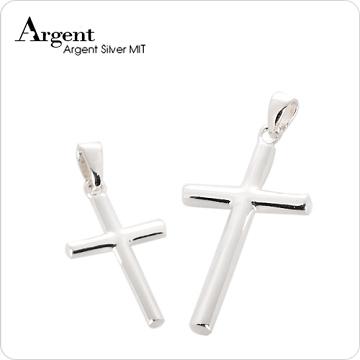 【ARGENT銀飾】情人對墜系列「圓柱十字架(大+中)」純銀項鍊(一對價)