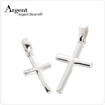【ARGENT銀飾】情人對墜系列「圓柱十字架(中+小)」純銀項鍊(一對價)