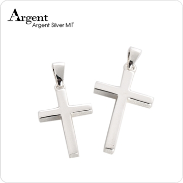 【ARGENT銀飾】情人對墜系列「方柱十字架(大+中)」純銀對鍊(一對價)