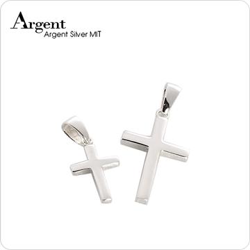 【ARGENT銀飾】情人對墜系列「方柱十字架(中+小)」純銀項鍊(一對價)