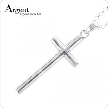 【ARGENT銀飾】十字架系列「藏鑽十字(可選鑽色)」純銀項鍊