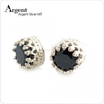 【ARGENT銀飾】單鑽系列「純銀-黑瑪瑙-圓鑽-皇冠耳環」純銀耳環