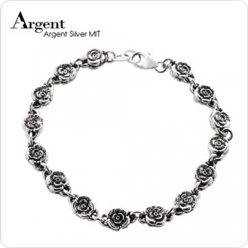 【ARGENT銀飾】花朵系列「薔薇」純銀手鍊(染黑)