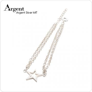 【ARGENT銀飾】星星系列「流星」(雙鍊) 純銀手鍊
