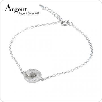 【ARGENT銀飾】微鑲鉑銀閃亮系列「晶鑽漩渦(白K金)」純銀手鍊