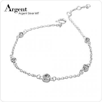 【ARGENT銀飾】微鑲鉑銀閃亮系列「晶鑽點滴(白K金)」純銀手鍊