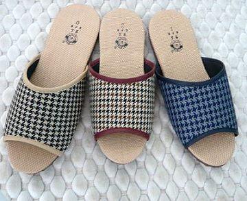 (e鞋院)仿拉菲草室內拖鞋(千鳥紋)---<12雙特價588元>