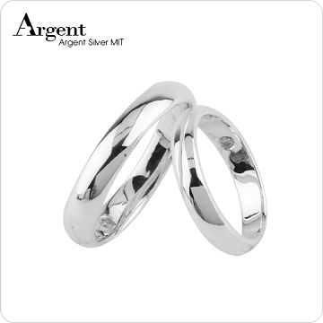 【ARGENT安爵銀飾精品】情人對戒系列「藏鑽-無刻字版(4mm+3mm)」純銀戒指(一對價)可加購刻字