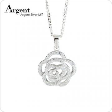 【ARGENT銀飾】微鑲鉑銀閃亮系列「浪漫花神(白K金)」純銀項鍊
