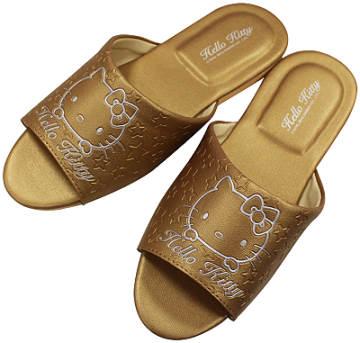 (e鞋院)金色HELLO KITTY) 室內皮拖鞋