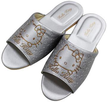 (e鞋院)銀色HELLO KITTY) 室內皮拖鞋