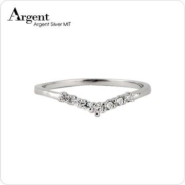 【ARGENT銀飾】微鑲鉑銀閃亮系列「深愛(白K金)」純銀戒指