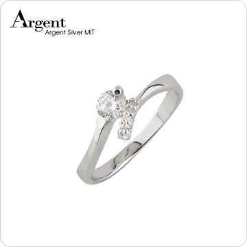 【ARGENT銀飾】微鑲鉑銀閃亮系列「約定(白K金)」純銀戒指