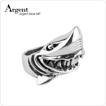 【ARGENT銀飾】動物系列「銀鯊」 純銀戒指(染黑款)