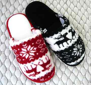 (e鞋院)[聖誕馴鹿]絨毛室內拖鞋